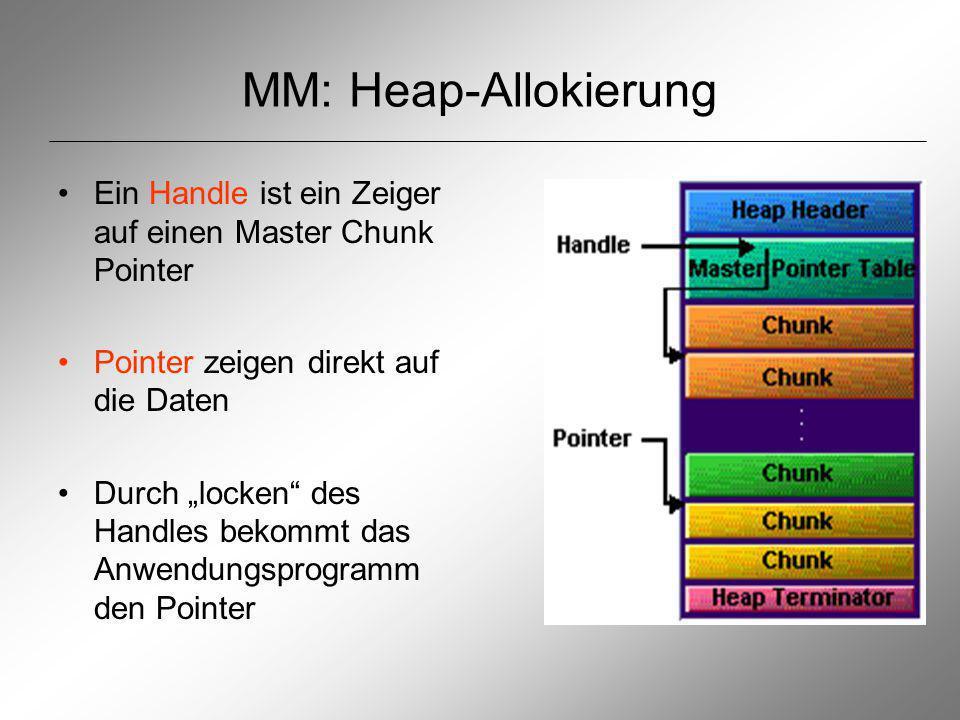 MM: Heap-Allokierung Ein Handle ist ein Zeiger auf einen Master Chunk Pointer Pointer zeigen direkt auf die Daten Durch locken des Handles bekommt das Anwendungsprogramm den Pointer