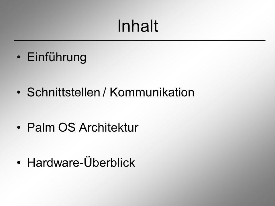 Palm OS Architektur: Layer Device Hardware: intergrierte Komponenten 3rd Party Hardware: zusätzlich durch Steckkarten eingebundenen Hardware Hardware-Abstraction-Layer: Unabhängikeit von HW- Konfiguration Kernel: Herz des Betriebssystems (Multitaskingfähig: Bearbeitung Schrifterkennung parallel zum Programm)