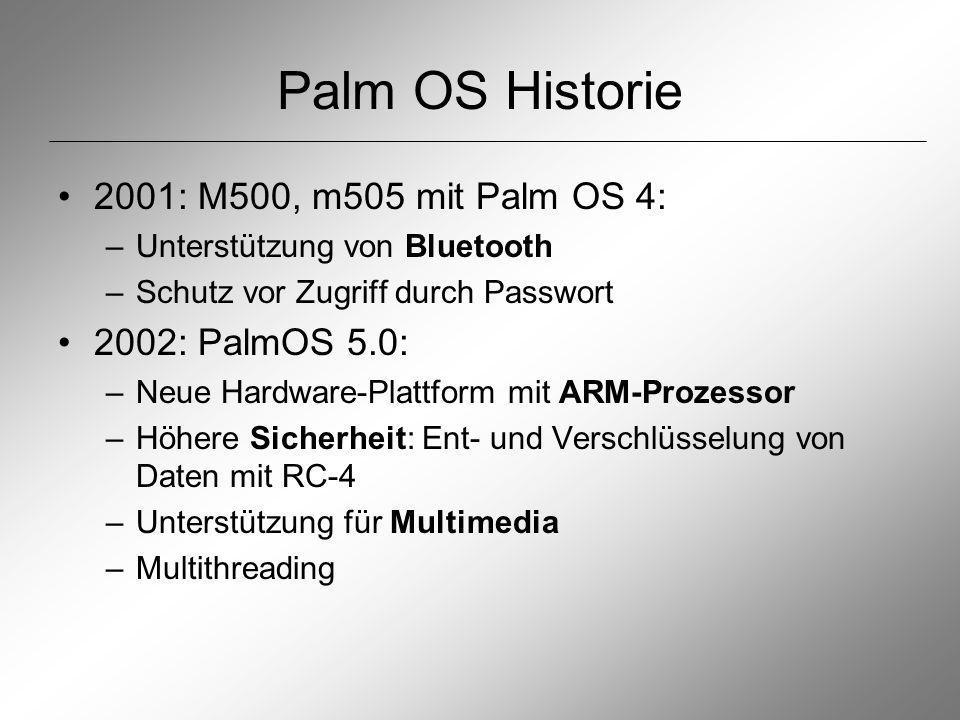 Literatur http://www.palmos.com http://www.palm.com http://news.zdnet.de Palm OS Memory and Database Management, Kenneth Albanowski http://oasis.palm.com/dev/kb/papers/2029.cfm Introduction to Palm OS Memory Use http://oasis.palm.com/dev/kb/manuals/1748.cfm Palm OS Memory Architecture http://oasis.palm.com/dev/kb/papers/1145.cfm http://pdaforum.de/palmintro http://www.palmsource.com Palm-OS-Programmierung mit gcc, Dirk Nöldner, dpunkt.verlag