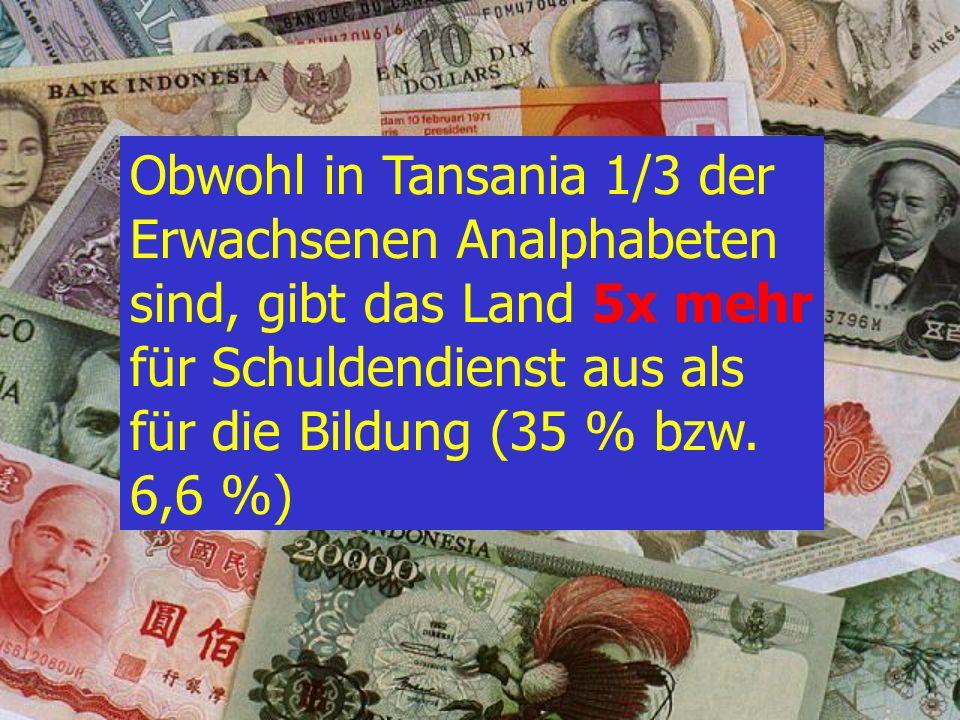 D : 35,0 % C : 28,5 % B : 16,2 % Wie viel Prozent des Budgets gibt Tansania für den Schuldendienst aus ? A : 6,6 % Dritte Welt Quiz