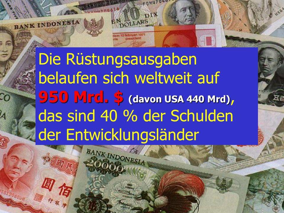 D : 18 Jahre C : 10 Jahre B : 6 Jahre Wie lange müsste die Welt auf Rüstung verzichten, damit man die gesamten Schulden der DW tilgen könnte ? A : 2,5