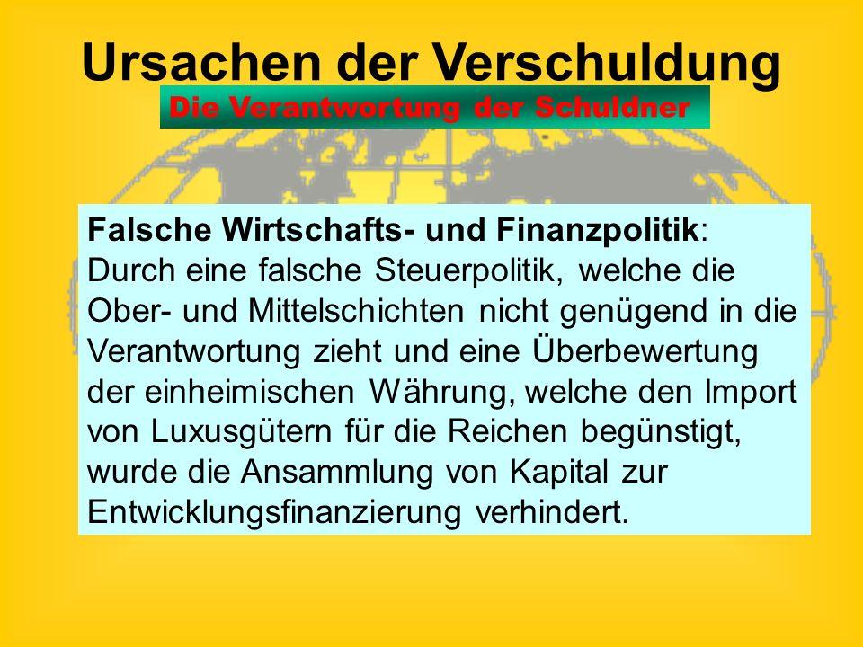 Ursachen der Verschuldung Kapitalflucht: Politische und wirtschaftliche Instabilität, unsichere Anlagemöglichkeiten und Inflation ließen große Kapital