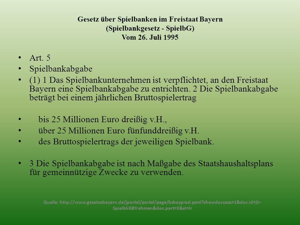 Gesetz über Spielbanken im Freistaat Bayern (Spielbankgesetz - SpielbG) Vom 26. Juli 1995 Art. 5 Spielbankabgabe (1) 1 Das Spielbankunternehmen ist ve