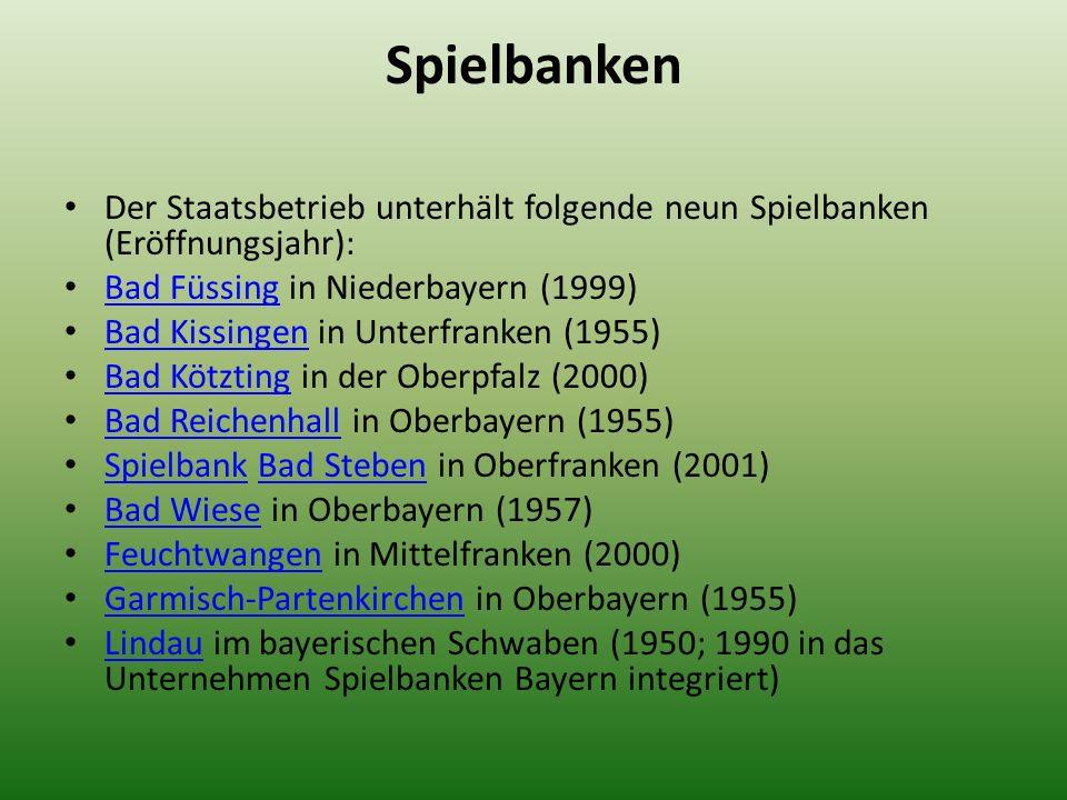 Spielbanken Der Staatsbetrieb unterhält folgende neun Spielbanken (Eröffnungsjahr): Bad Füssing in Niederbayern (1999) Bad Füssing Bad Kissingen in Un