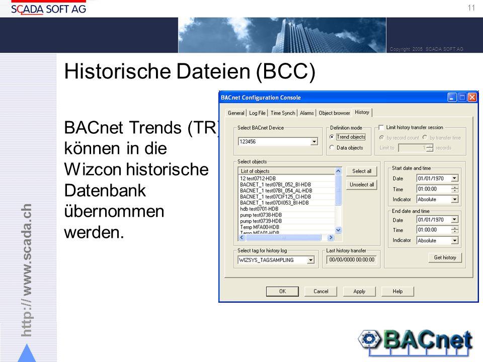 http:// www.scada.ch 11 Copyright 2005 SCADA SOFT AG Historische Dateien (BCC) BACnet Trends (TR) können in die Wizcon historische Datenbank übernommen werden.