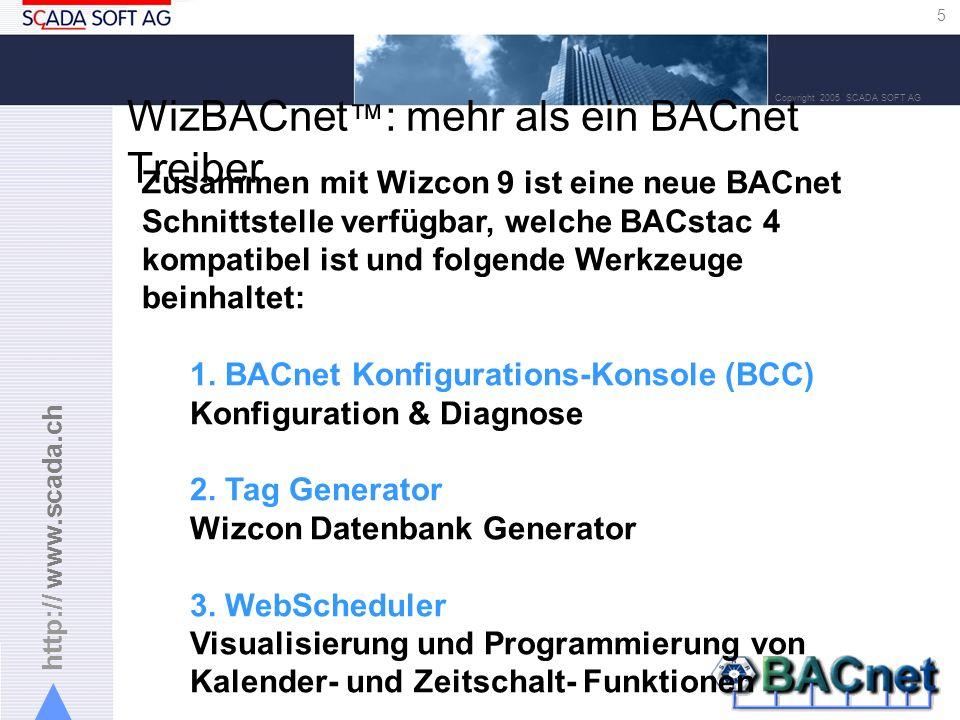 http:// www.scada.ch 16 Copyright 2005 SCADA SOFT AG BACnet Scheduler: User Interface Für jedes BACnet Gerät kann man alle: -Scheduler Objekte -Kalender Objekte verwalten.
