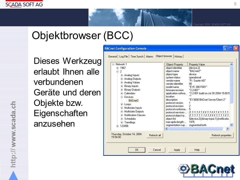 http:// www.scada.ch 8 Copyright 2005 SCADA SOFT AG Objektbrowser (BCC) Dieses Werkzeug erlaubt Ihnen alle verbundenen Geräte und deren Objekte bzw.