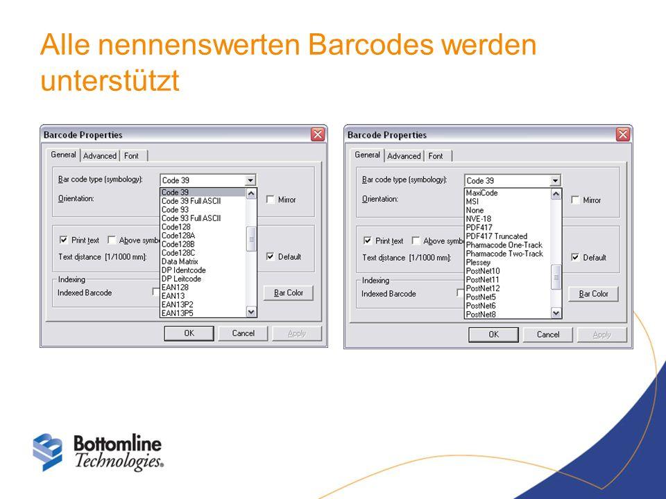 Alle nennenswerten Barcodes werden unterstützt