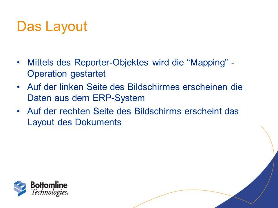 Das Layout Mittels des Reporter-Objektes wird die Mapping - Operation gestartet Auf der linken Seite des Bildschirmes erscheinen die Daten aus dem ERP