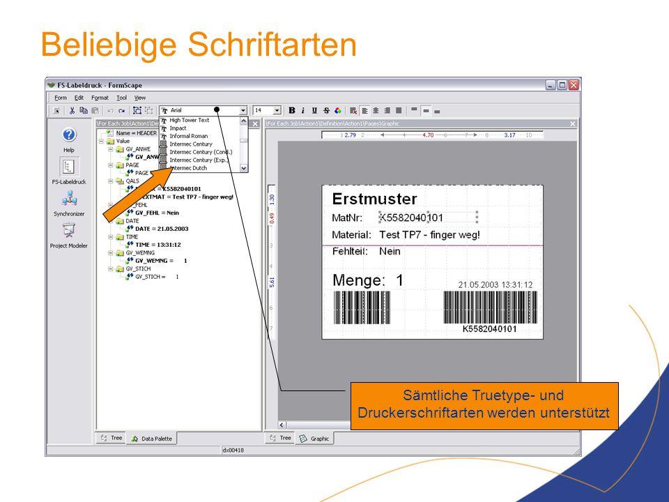 Beliebige Schriftarten Sämtliche Truetype- und Druckerschriftarten werden unterstützt