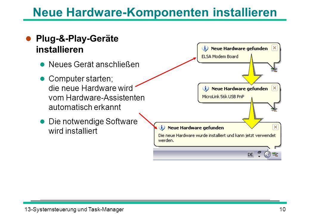 13-Systemsteuerung und Task-Manager10 Neue Hardware-Komponenten installieren l Plug-&-Play-Geräte installieren l Neues Gerät anschließen l Computer starten; die neue Hardware wird vom Hardware-Assistenten automatisch erkannt l Die notwendige Software wird installiert