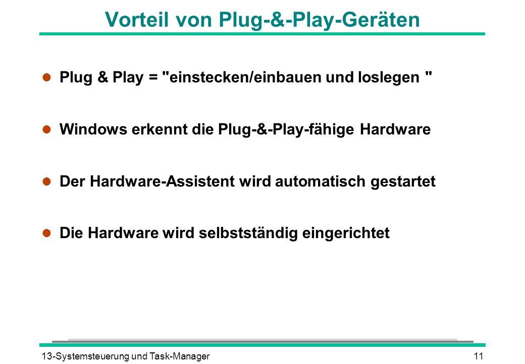 13-Systemsteuerung und Task-Manager11 Vorteil von Plug-&-Play-Geräten l Plug & Play = einstecken/einbauen und loslegen l Windows erkennt die Plug-&-Play-fähige Hardware l Der Hardware-Assistent wird automatisch gestartet l Die Hardware wird selbstständig eingerichtet