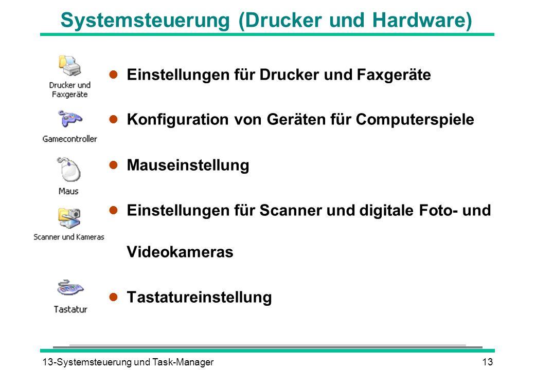 13-Systemsteuerung und Task-Manager13 Systemsteuerung (Drucker und Hardware) l Einstellungen für Drucker und Faxgeräte l Konfiguration von Geräten für Computerspiele l Mauseinstellung l Einstellungen für Scanner und digitale Foto- und Videokameras l Tastatureinstellung