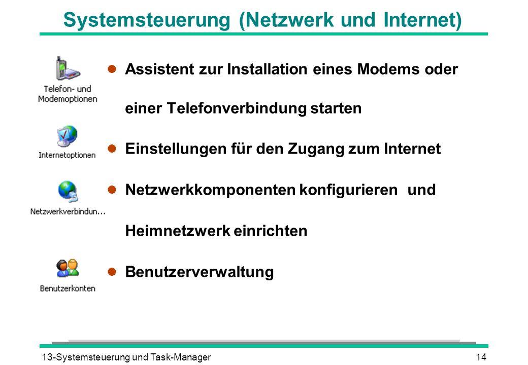 13-Systemsteuerung und Task-Manager14 Systemsteuerung (Netzwerk und Internet) l Assistent zur Installation eines Modems oder einer Telefonverbindung starten l Einstellungen für den Zugang zum Internet l Netzwerkkomponenten konfigurieren und Heimnetzwerk einrichten l Benutzerverwaltung