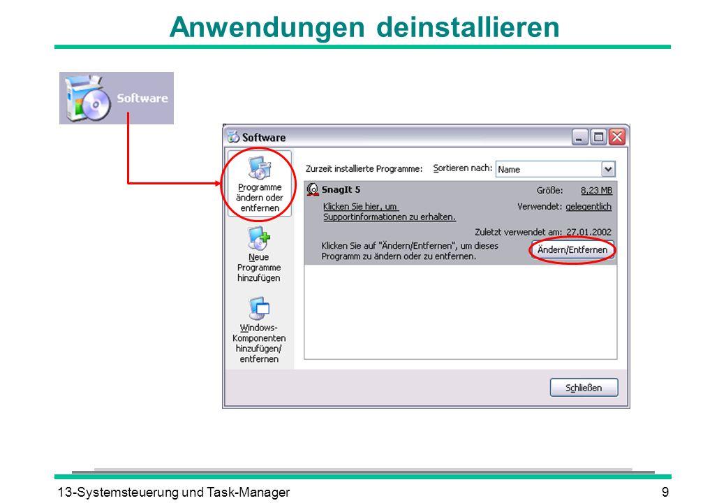 13-Systemsteuerung und Task-Manager9 Anwendungen deinstallieren