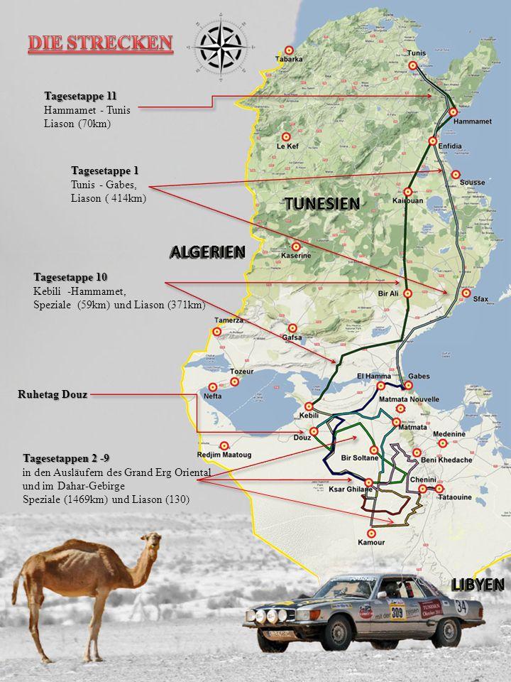 Tagesetappe 1 Tunis - Gabes, Liason ( 414km) Tagesetappe 10 Kebili -Hammamet, Speziale (59km) und Liason (371km ) Tagesetappen 2 -9 in den Ausläufern des Grand Erg Oriental und im Dahar-Gebirge Speziale (1469km) und Liason (130) Ruhetag Douz Tagesetappe 11 Hammamet - Tunis Liason (70km)