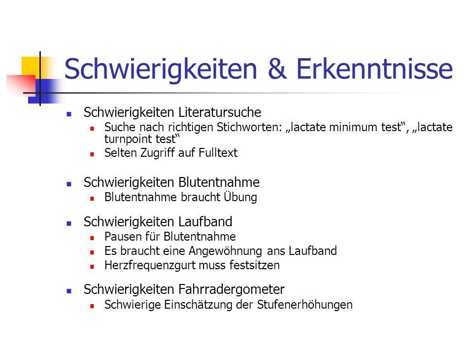 Schwierigkeiten & Erkenntnisse Schwierigkeiten Literatursuche Suche nach richtigen Stichworten: lactate minimum test, lactate turnpoint test Selten Zu