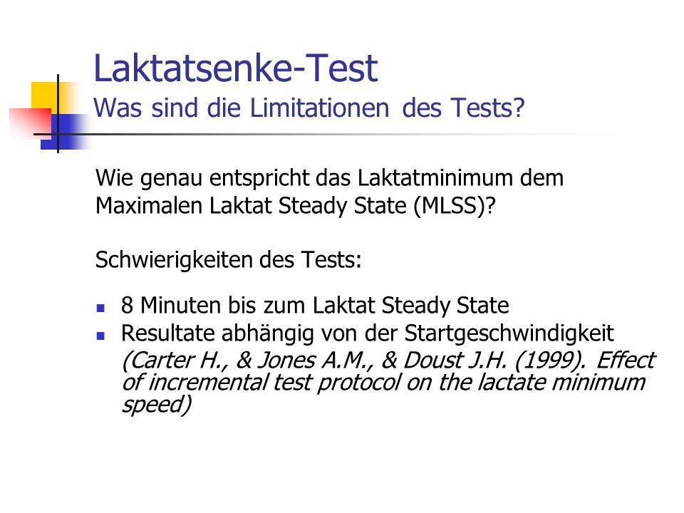 Laktatsenke-Test Was sind die Limitationen des Tests? Wie genau entspricht das Laktatminimum dem Maximalen Laktat Steady State (MLSS)? Schwierigkeiten