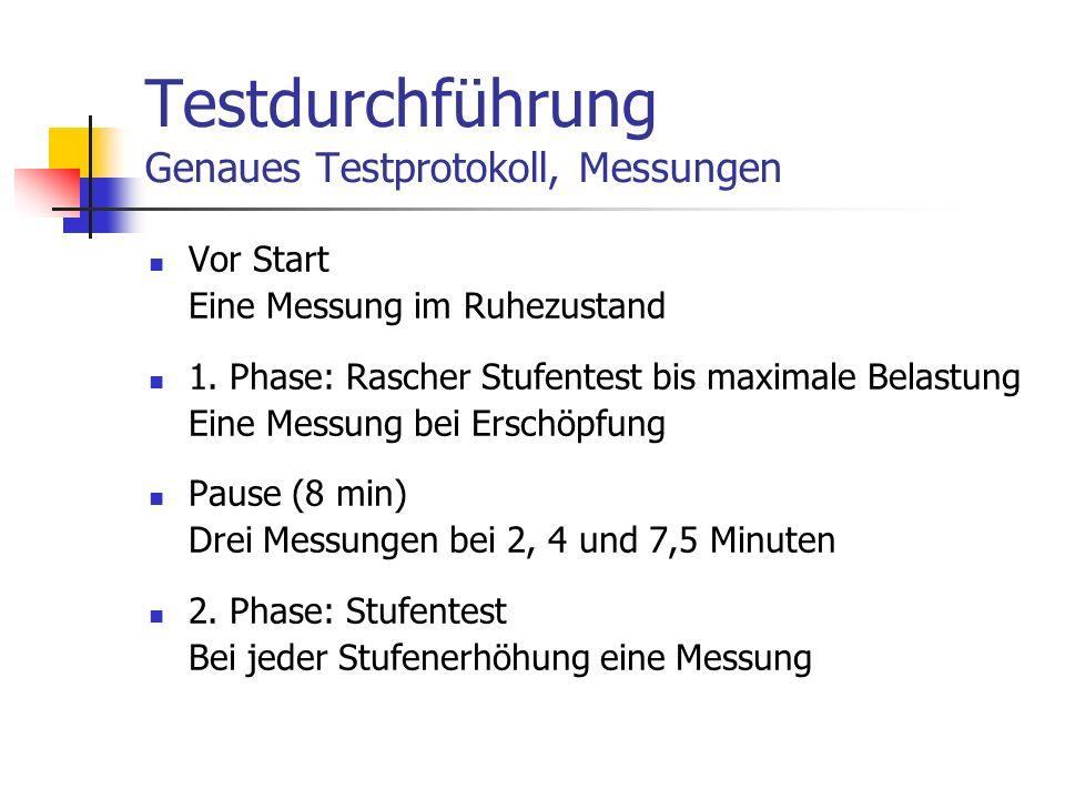 Testdurchführung Genaues Testprotokoll, Messungen Vor Start Eine Messung im Ruhezustand 1. Phase: Rascher Stufentest bis maximale Belastung Eine Messu