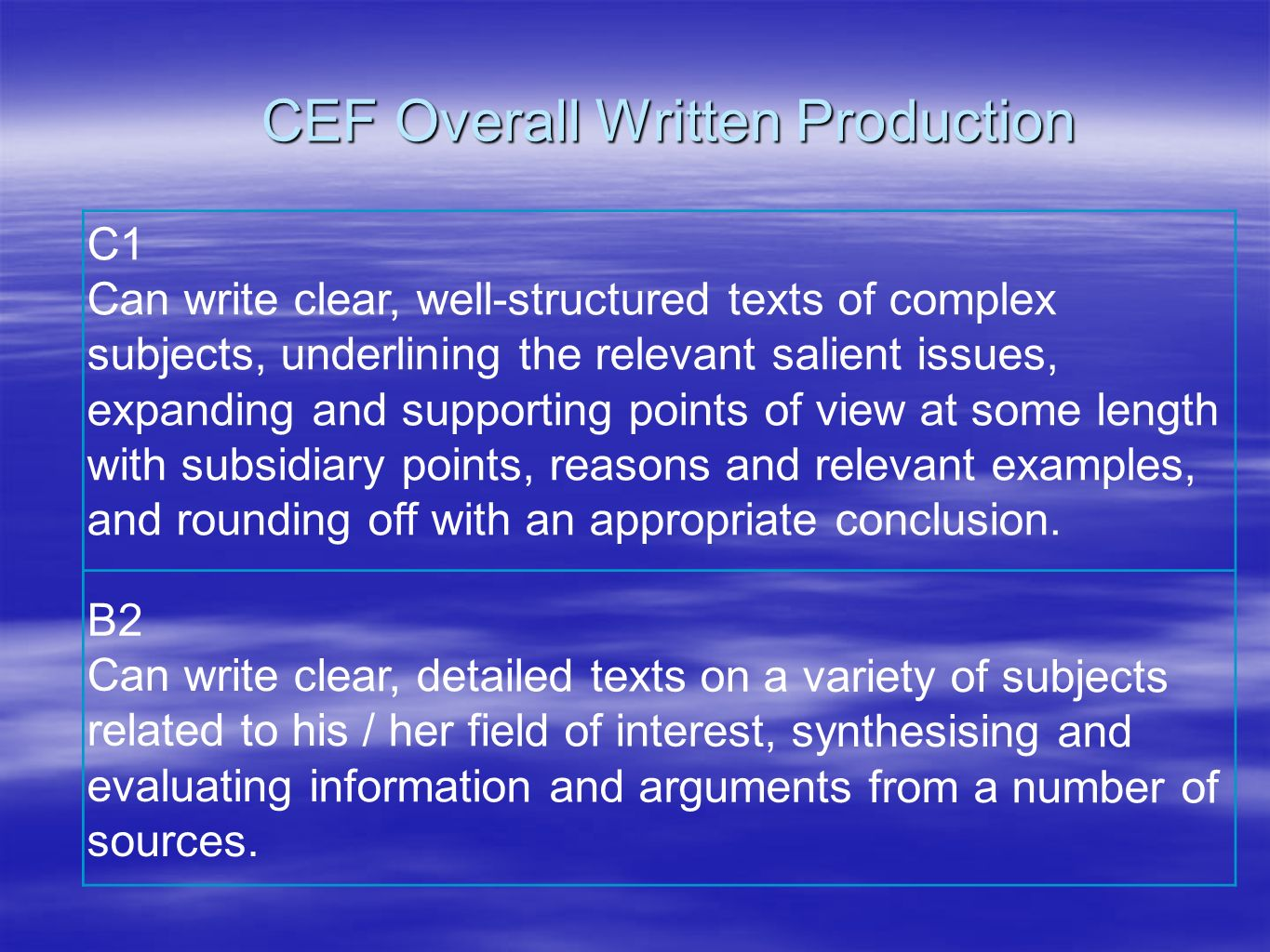 CEF Overall Written Production B2 Can write clear, detailed texts on a variety of subjects related to his / her field of interest, synthesising and ev