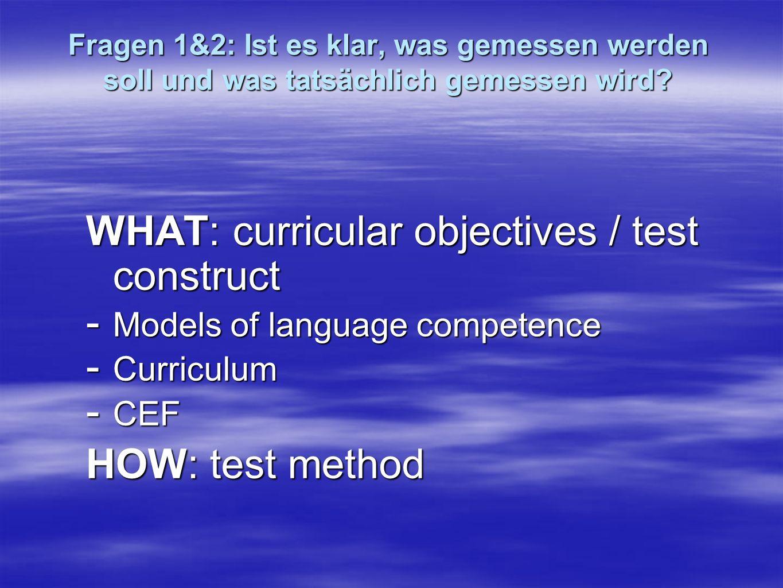 Test Method in Writing and Speaking Resist the temptation: keep method distinct from construct Du hast für diese Aufgabe 10 Minuten Zeit.