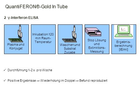Ergebnis- berechnung [IE/ml] Stop Lösung und Extinktions- Messung Waschen und Substrat Zugabe Inkubation 120 min Raum- Temperatur Plasma und Konjugat