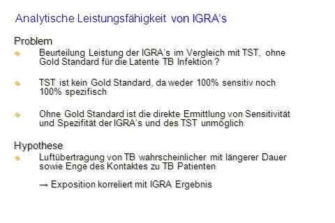 Problem Beurteilung Leistung der IGRAs im Vergleich mit TST, ohne Gold Standard für die Latente TB Infektion ? Beurteilung Leistung der IGRAs im Vergl