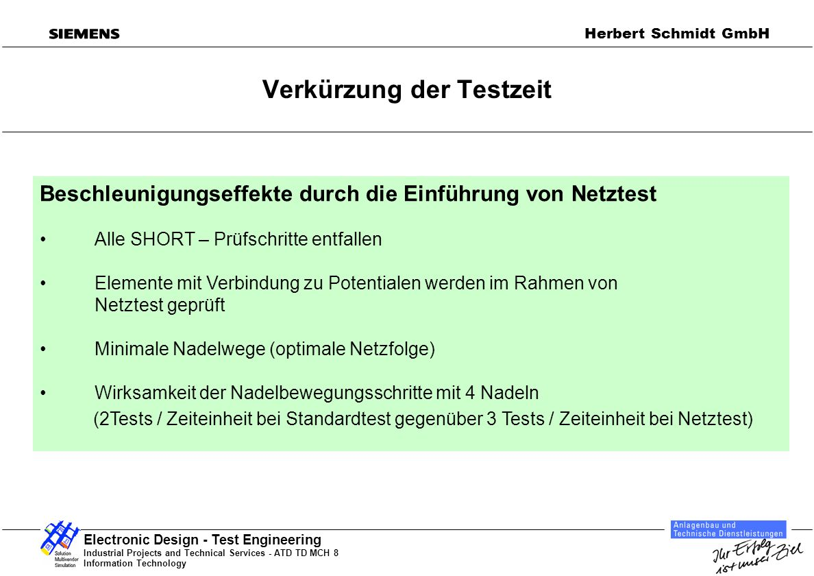 Industrial Projects and Technical Services - ATD TD MCH 8 Information Technology Electronic Design - Test Engineering Herbert Schmidt GmbH Kostenvergleich ICT Test / Standard Test / Netztest ICT-Test:Standardtest:Netztest: Progr.k.+Adapterk.: 15.000 EUR Programmk.: 4.000 EURProgrammk.: 6.000 EUR Testkosten/Stck: 0,42 EURTestkosten/Stck: 5 EURTestkosten/Stck: 1 EUR