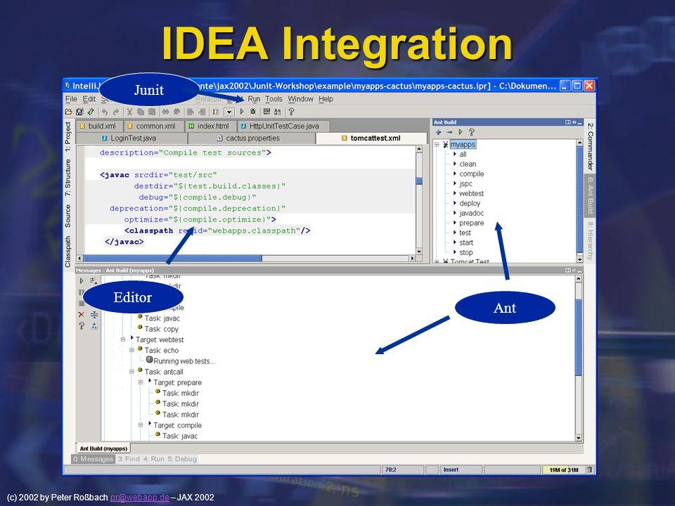 (c) 2002 by Peter Roßbach pr@webapp.de – JAX 2002pr@webapp.de IDEA Integration Junit Ant Editor