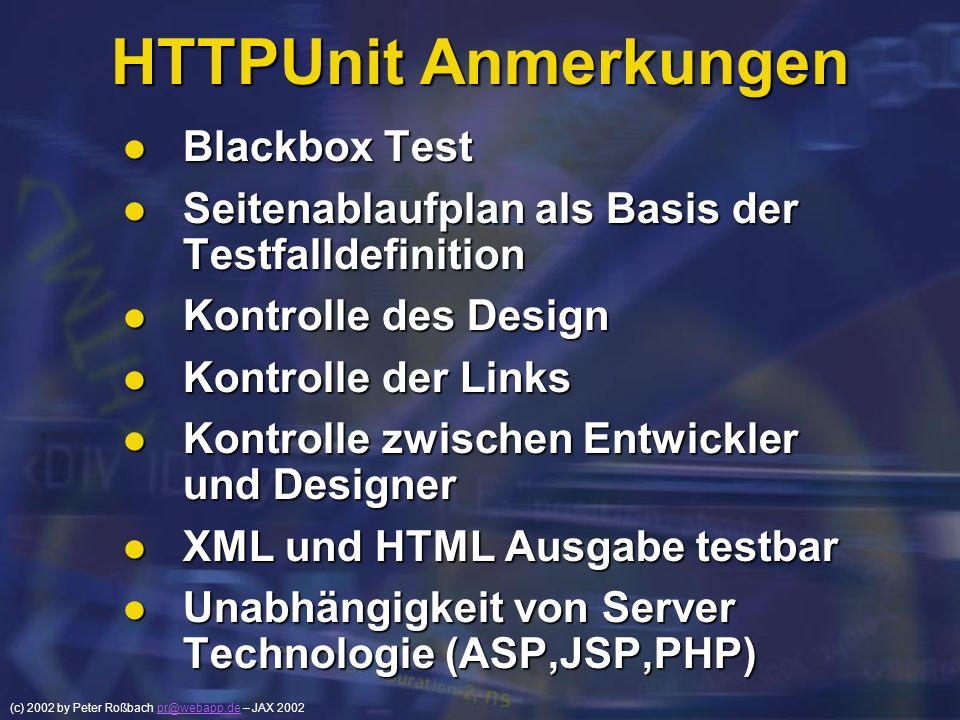 (c) 2002 by Peter Roßbach pr@webapp.de – JAX 2002pr@webapp.de HTTPUnit Anmerkungen Blackbox Test Blackbox Test Seitenablaufplan als Basis der Testfall