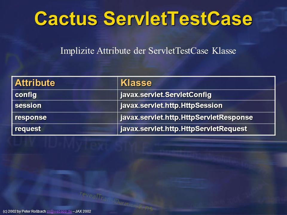 (c) 2002 by Peter Roßbach pr@webapp.de – JAX 2002pr@webapp.de Cactus ServletTestCase AttributeKlasse configjavax.servlet.ServletConfig sessionjavax.se
