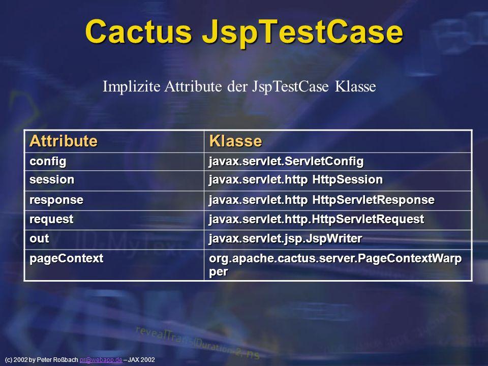 (c) 2002 by Peter Roßbach pr@webapp.de – JAX 2002pr@webapp.de Cactus JspTestCase AttributeKlasse configjavax.servlet.ServletConfig session javax.servl