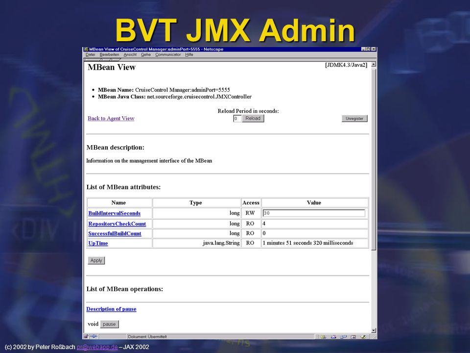 (c) 2002 by Peter Roßbach pr@webapp.de – JAX 2002pr@webapp.de BVT JMX Admin