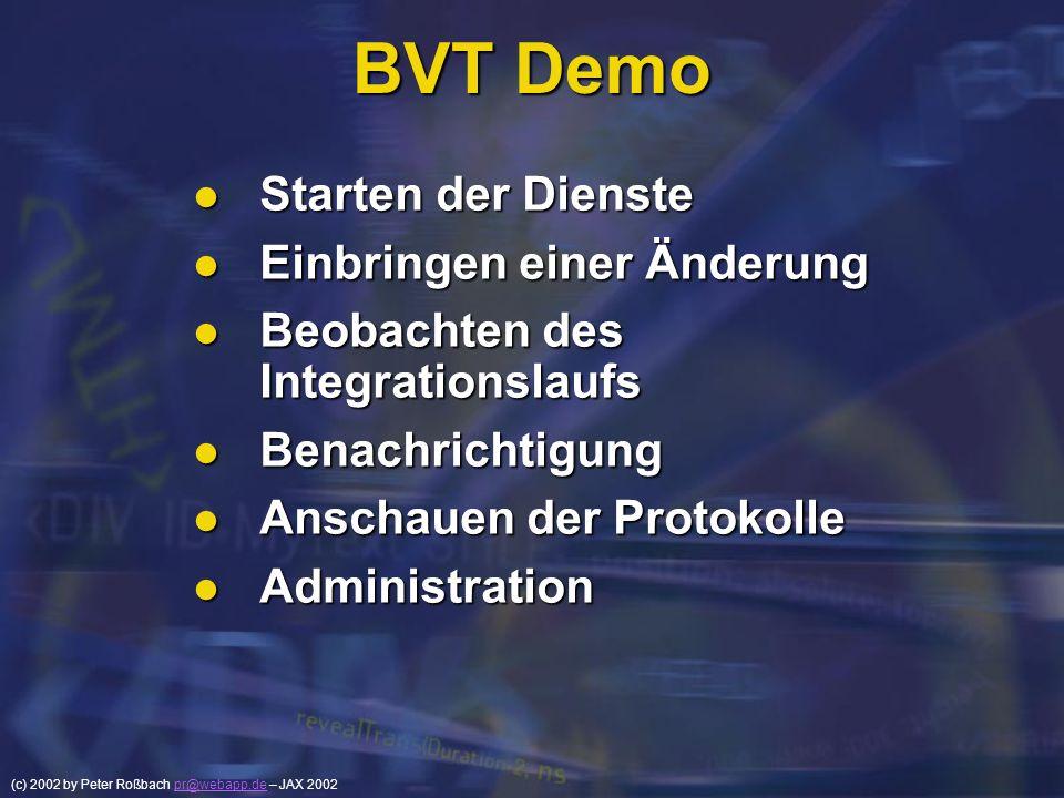 (c) 2002 by Peter Roßbach pr@webapp.de – JAX 2002pr@webapp.de BVT Demo Starten der Dienste Starten der Dienste Einbringen einer Änderung Einbringen ei