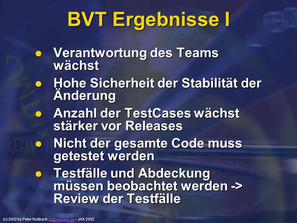 (c) 2002 by Peter Roßbach pr@webapp.de – JAX 2002pr@webapp.de BVT Ergebnisse I Verantwortung des Teams wächst Verantwortung des Teams wächst Hohe Sich