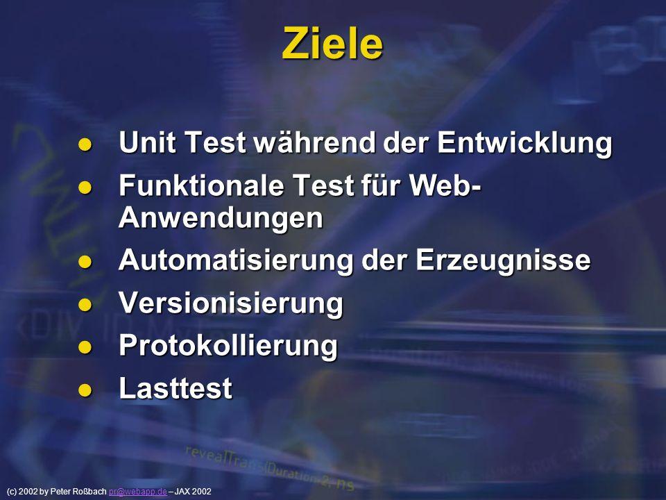 (c) 2002 by Peter Roßbach pr@webapp.de – JAX 2002pr@webapp.de Ziele Unit Test während der Entwicklung Unit Test während der Entwicklung Funktionale Te