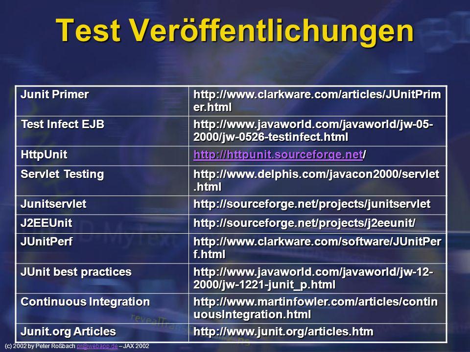(c) 2002 by Peter Roßbach pr@webapp.de – JAX 2002pr@webapp.de Test Veröffentlichungen Junit Primer http://www.clarkware.com/articles/JUnitPrim er.html