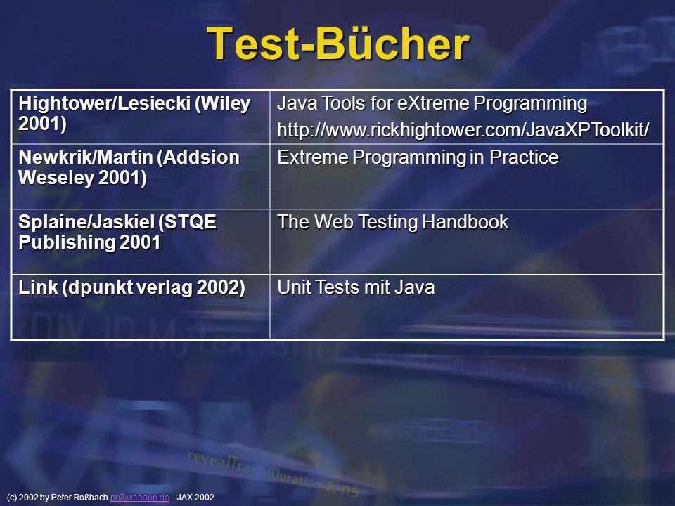 (c) 2002 by Peter Roßbach pr@webapp.de – JAX 2002pr@webapp.de Test-Bücher Hightower/Lesiecki (Wiley 2001) Java Tools for eXtreme Programming http://ww