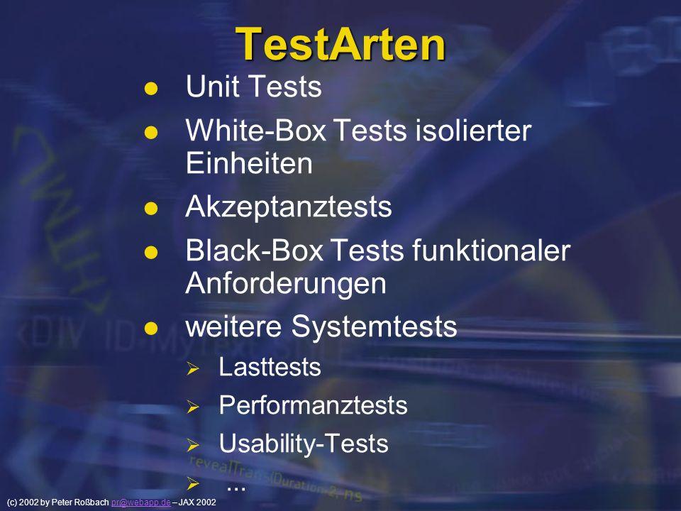 (c) 2002 by Peter Roßbach pr@webapp.de – JAX 2002pr@webapp.de TestArten Unit Tests White-Box Tests isolierter Einheiten Akzeptanztests Black-Box Tests