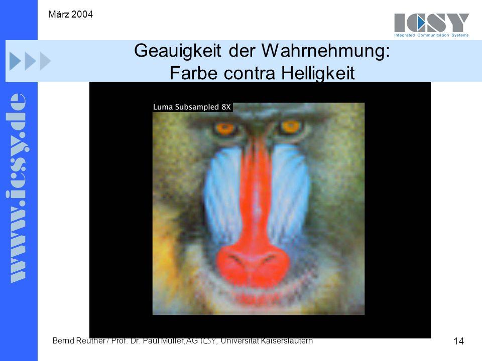 14 März 2004 Bernd Reuther / Prof. Dr. Paul Müller, AG ICSY, Universität Kaiserslautern Geauigkeit der Wahrnehmung: Farbe contra Helligkeit