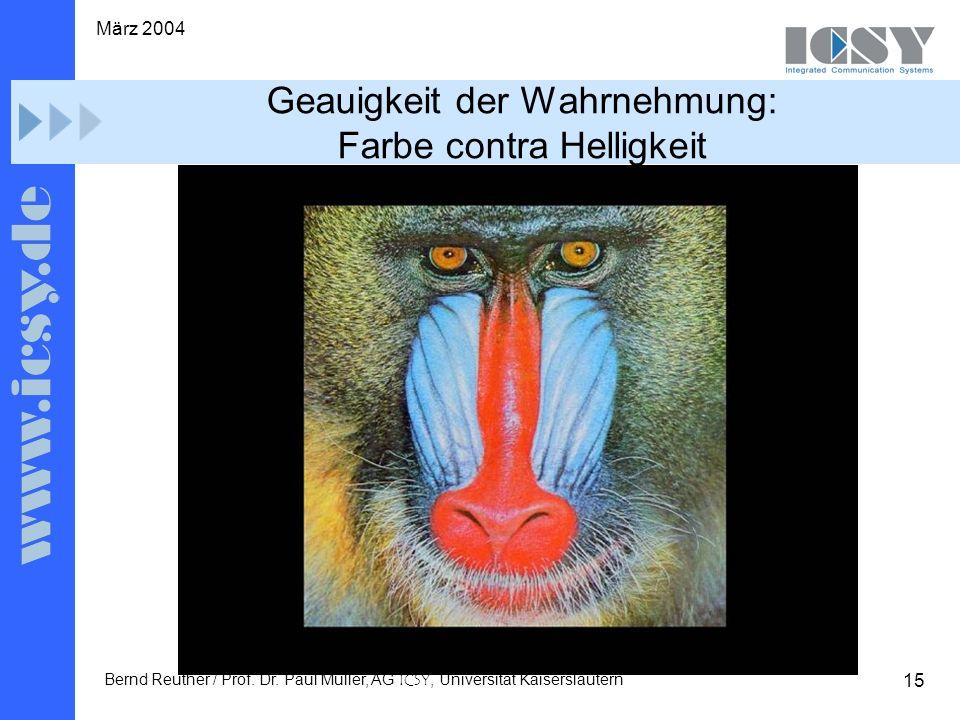 15 März 2004 Bernd Reuther / Prof. Dr. Paul Müller, AG ICSY, Universität Kaiserslautern Geauigkeit der Wahrnehmung: Farbe contra Helligkeit