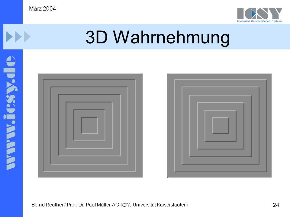 24 März 2004 Bernd Reuther / Prof. Dr. Paul Müller, AG ICSY, Universität Kaiserslautern 3D Wahrnehmung