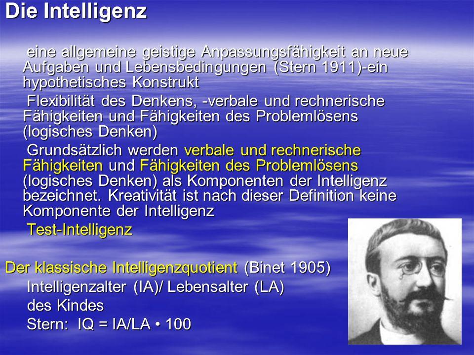 Die Intelligenz eine allgemeine geistige Anpassungsfähigkeit an neue Aufgaben und Lebensbedingungen (Stern 1911)-ein hypothetisches Konstrukt eine all