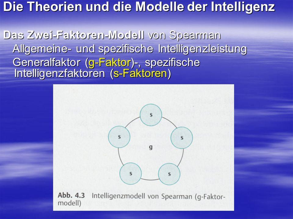 Die Theorien und die Modelle der Intelligenz Mehrfaktorentheorie der Intelligenz (Thurstone) sieben Primärfaktoren: Rechenfähigkeit, Sprachverständnis,Wortflüssigkeit, räumliche Vorstellung, Gedächtnis, logisches Denken, sieben Primärfaktoren: Rechenfähigkeit, Sprachverständnis,Wortflüssigkeit, räumliche Vorstellung, Gedächtnis, logisches Denken, Wahrnehmungsgeschwindigkeit Wahrnehmungsgeschwindigkeit Modell der fluiden und kristallinen Intelligenz (Catell) fluide Intelligenz (kulturunabhängig), fluide Intelligenz (kulturunabhängig), kristalline Intelligenz (kulturabhängig) kristalline Intelligenz (kulturabhängig)