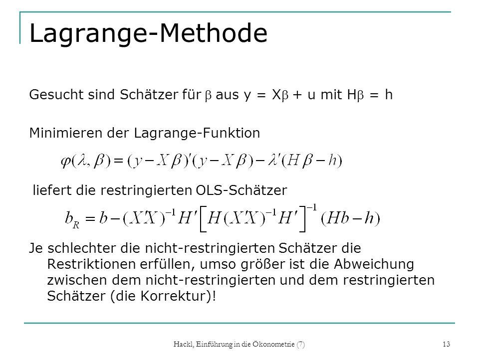 Hackl, Einführung in die Ökonometrie (7) 13 Lagrange-Methode Gesucht sind Schätzer für aus y = X + u mit H = h Minimieren der Lagrange-Funktion liefer