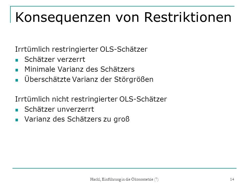 Hackl, Einführung in die Ökonometrie (7) 14 Konsequenzen von Restriktionen Irrtümlich restringierter OLS-Schätzer Schätzer verzerrt Minimale Varianz d