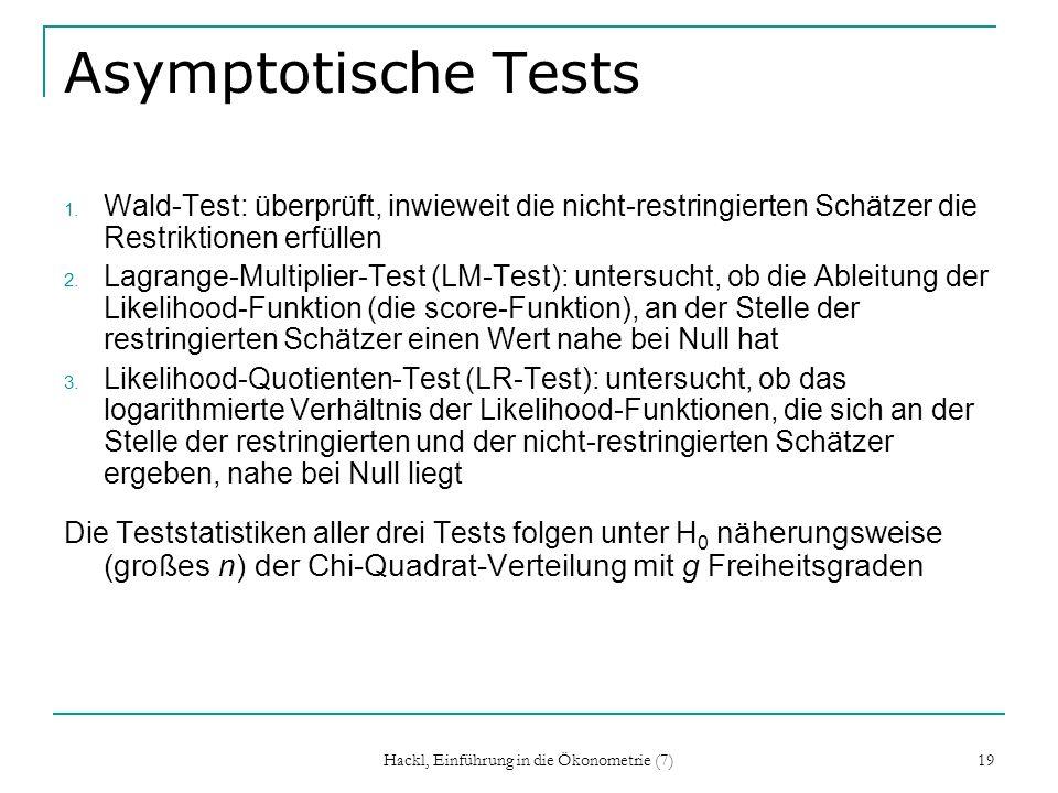 Hackl, Einführung in die Ökonometrie (7) 19 Asymptotische Tests 1. Wald-Test: überprüft, inwieweit die nicht-restringierten Schätzer die Restriktionen