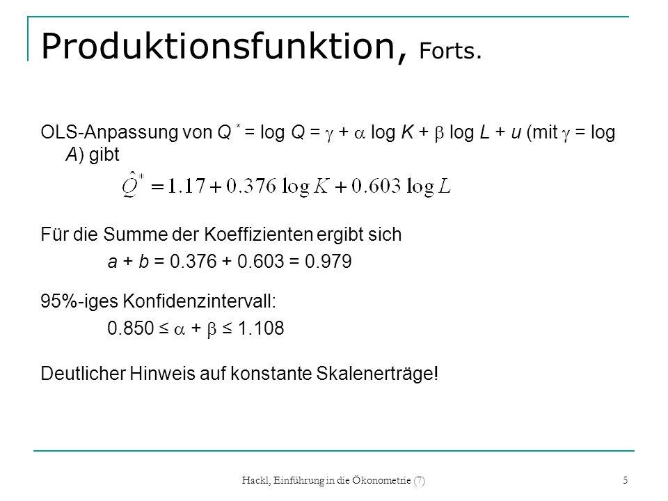 Hackl, Einführung in die Ökonometrie (7) 5 Produktionsfunktion, Forts. OLS-Anpassung von Q * = log Q = + log K + log L + u (mit = log A) gibt Für die