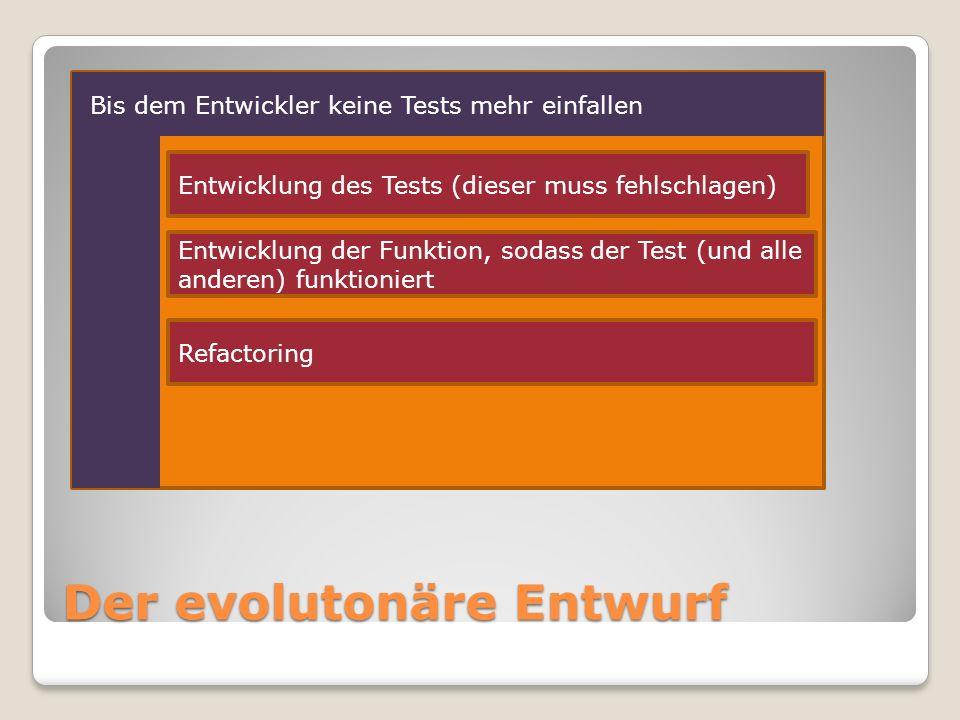 Der evolutonäre Entwurf Entwicklung des Tests (dieser muss fehlschlagen) Entwicklung der Funktion, sodass der Test (und alle anderen) funktioniert Refactoring Bis dem Entwickler keine Tests mehr einfallen