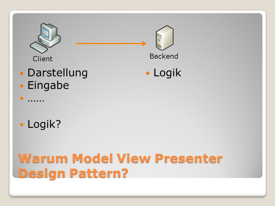 Warum Model View Presenter Design Pattern? Darstellung Eingabe …… Logik Logik? Backend Client